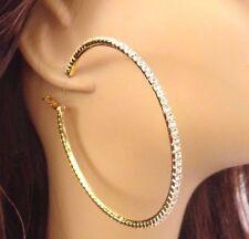 LARGE CRYSTAL HOOP EARRINGS RHINESTONE PAVE 4 INCH GOLD TONE HOOP EARRINGS