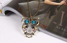 Donne Vintage con strass Owl ciondolo LUNGA COLLANA CATENA Maglione moda regalo UK