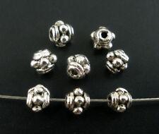 50 Perles Intercalaire Motif argenté métal Rond 3,5 mm