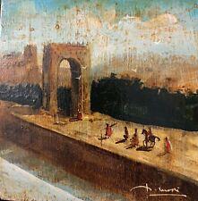 Pittore del 1700-1800 - Paeaaggio con figure e porta romana (olio su tavola)