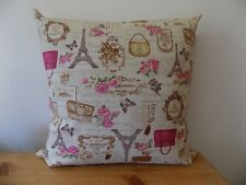"Handmade Cushion Cover Paris Vintage Style Pillow Cotton Canvas Fabric 16"" Zip"