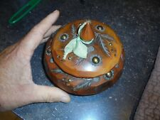 Ancienne Boite en Bois Sculpté Bonbon Bijoux Vide Poche Ancien Art Populaire