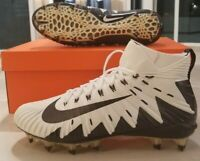 Nike Alpha Menace Elite Football Mid Cleats White Black Men's SZ 12 (877141-100)