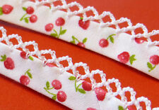by the meter Strawberries & Cherries FOLDED BIAS BINDING PICOT LACE TRIM