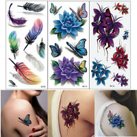 3pc 3D Flower Butterfly Feather Style Temporary Tattoos Stickers Body Art Tattoo
