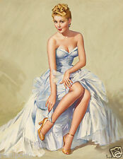 Vintage Pin Up Girl Poster/Art Print/Pin Up Girl In a Blue Gown / 17x22
