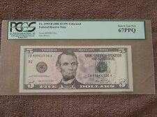 2006 $5.00 Colorized FR.1993-B PCGS SUPERB GEM NEW 67 PPQ # 80223108