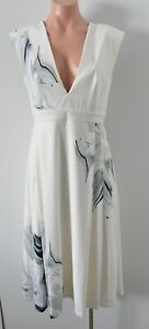 Sheike Dress Size 10 White Grey Sleeveless Shift