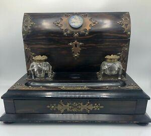 1880 Antique English Coromandel Desk Set by Cormack Brothers London