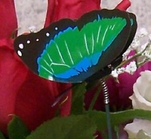 """Garden Decor Flower Pot Plant Pick Stake Colorful Butterfly NEW 12"""" tall #22"""