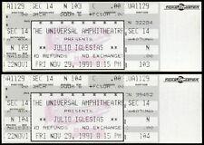 2 Rare Julio Iglesias Country Music Tickets Nov 29th 1991 Universal Amphitheatre