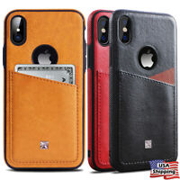 THIN SLIM Leather Wallet Back Card Slot Cover Case for iPhone XS MAX XR 8/7 Plus