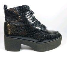 Topshop Black Leather Reptile Print Block Heel Platform Ankle Boots UK 8