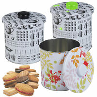 Metal Biscuit Cookie Cake Cupcake Candy Tin Airtight Canister Kitchen Storage