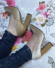Nude Velvet Shoes Size 6 Shiny Rectangular Heel Court Wedding Prom Party Work