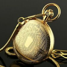 Full Hunter Hand-winding Chain Luxury Mens Pocket Watch Mechanical Gold Case