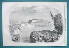 1858 Woodcut Engraving - CHERBOURG France Inauguration of Napoleon Dock