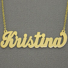 10K Solid Gold Personalized 2 Inches Large Cursive Any Name Necklace Custom Made
