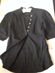 LaROK Black Cotton Shirt Slim Button Down S Small