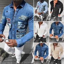 Jeanshemd Freizeit Hemd Casual Langarm Shirt Kentragen Jeans Herren OZONEE 14867