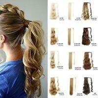 Hair Ponytail Clip Hair Extensions Wrap Around Pony Tail Straight/Curly