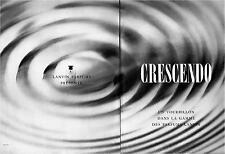 ▬► PUBLICITE ADVERTISING AD PARFUM PERFUME LANVIN CRESCENDO 2 pages de 1959