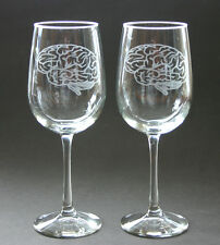 Brain Engraved Wine Glasses Set of 2 Brain Glass