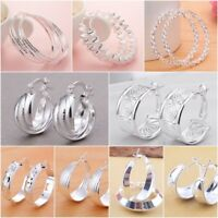 Wholesale Women Jewelry 925 Silver Ear Stud Hoop Dangle Earring Carved Pattern