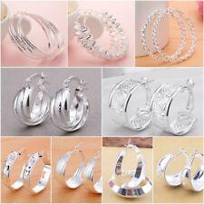 Wholesale Women Jewelry 925 Silver Ear Stud Hoop Dangle Earring Carved Pattern