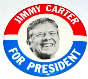 """1976 JIMMY CARTER 3.5"""" INCH campaign pin pinback button political presidential"""