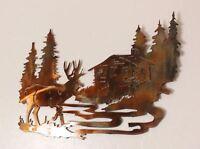 Deer Cabin Scene Metal Wall Decor