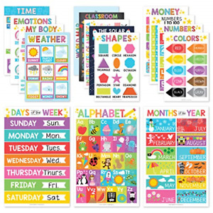 16 Educational Posters for Classroom Decor & Kindergarten Homeschool Supplies �