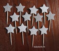 Silver Glitter Star Cupcake Toppers Twinkle Twinkle Little Theme Shower Reveal