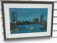Oil/Gauche Painting Boston After Dark 1979