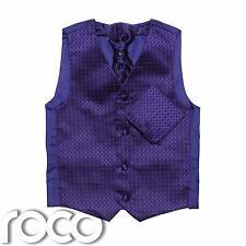 Boys Purple Waiscoat, Boys Cravat, Boys Waistcoat, Page Boy Waistcoats, Diamond