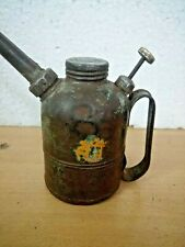 OLD METAL THUMB PUMP OIL CAN, 1940s, MEFA MARK LONG SPOUT COLLECTABLE  ANTIQUE