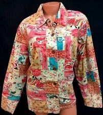 Cj banks beige pink floral abstract textured plus size buttoned down jacket 1X