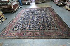 Antique India Agra Area Rug Hand Knotted Wool 9' x 12' Allover Blue DISTRESSED !
