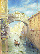Antique watercolor and pencil drawing on art paper Bridge of Sighs Venice signed