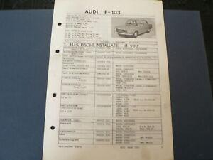 AT142 AUDI F-103 VANAF 1967 72, 80, SUPER 90   INFO TECHNICAL CAR AUTO