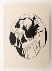 1928 Estonia ART NOUVEAU Original INK Vintage DRAWING #3