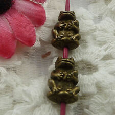 5 x Bronze Frog Spacer Beads Charms   Jewellery Making Crafts