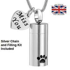 Pet Cat Dog Paws Miss You Cremation Urn Pendant Ashes Necklace Funeral Memorial