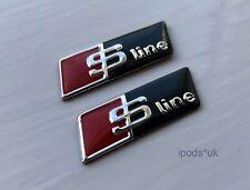 2 x S LINE STEERING WHEEL SELF ADHESIVE BADGE BLACK AUDI A1 A3 A4 A5 A6