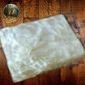 Plush Fur Polar Bear Hide Pelt Rug / Sheepskin Throw Faux Fur Shag Rectangle