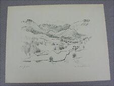 Antike Grafik San Bernardino A.H. Pellegrini signiert Schweiz Basel