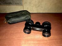 "Opera Glasses ""MAREL PARIS"" Made In France Leather pouch Brass French Binoculars"