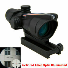 Tactical Hunting Rifle Scope Optic Sight ACOG 4X32 Airsoft Scope Real Red Fiber