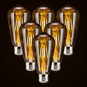 6-Pack LED Dimmable Edison Light Bulbs 40W Equivalent Vintage Light Bulb, Warm 6
