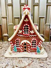 """10.5"""" Lighted GINGERBREAD HOUSE Clay Dough LED CHRISTMAS Decor 3916181 Raz NEW"""